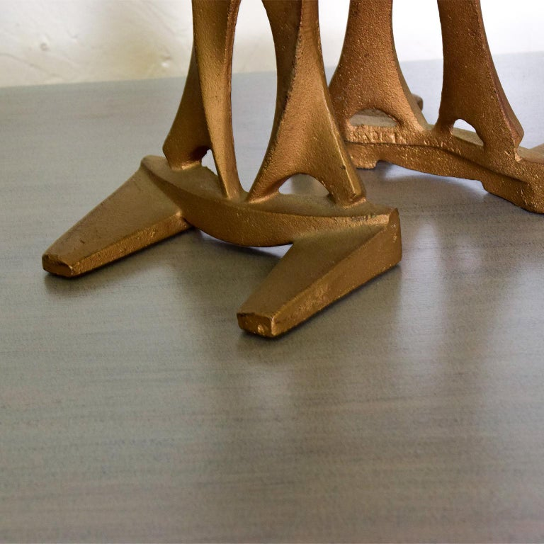 Mid-Century Modern Cast Iron Sculptural Bookends Made in Japan For Sale 1