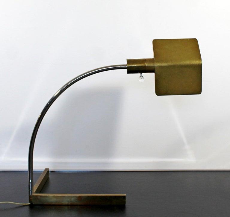 Mid Century Modern Cedric Hartman Chrome Brass Lucite Adjustable Desk Lamp 1960s For Sale At 1stdibs