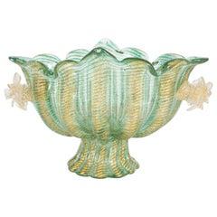 Mid-Century Modern Celadon & Cordonato d'Oro Pedestal Vase by Barovier & Toso