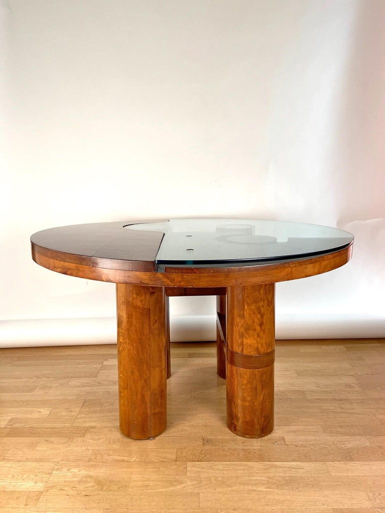 Mid-Century Modern Center Hall-Dining Walnut Table by Nerone & Patuzzi NP Group For Sale 4