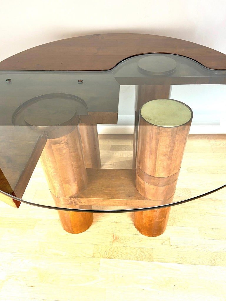 Mid-Century Modern Center Hall-Dining Walnut Table by Nerone & Patuzzi NP Group For Sale 5