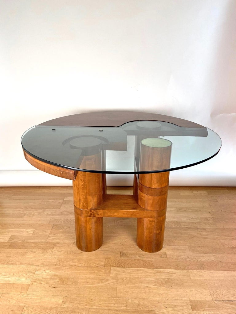 Mid-Century Modern Center Hall-Dining Walnut Table by Nerone & Patuzzi NP Group For Sale 10