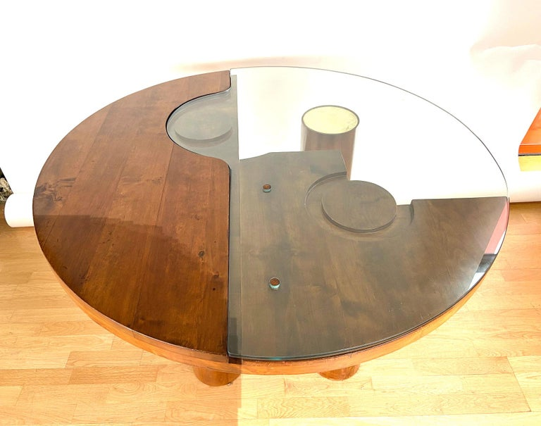 Mid-Century Modern Center Hall-Dining Walnut Table by Nerone & Patuzzi NP Group For Sale 11