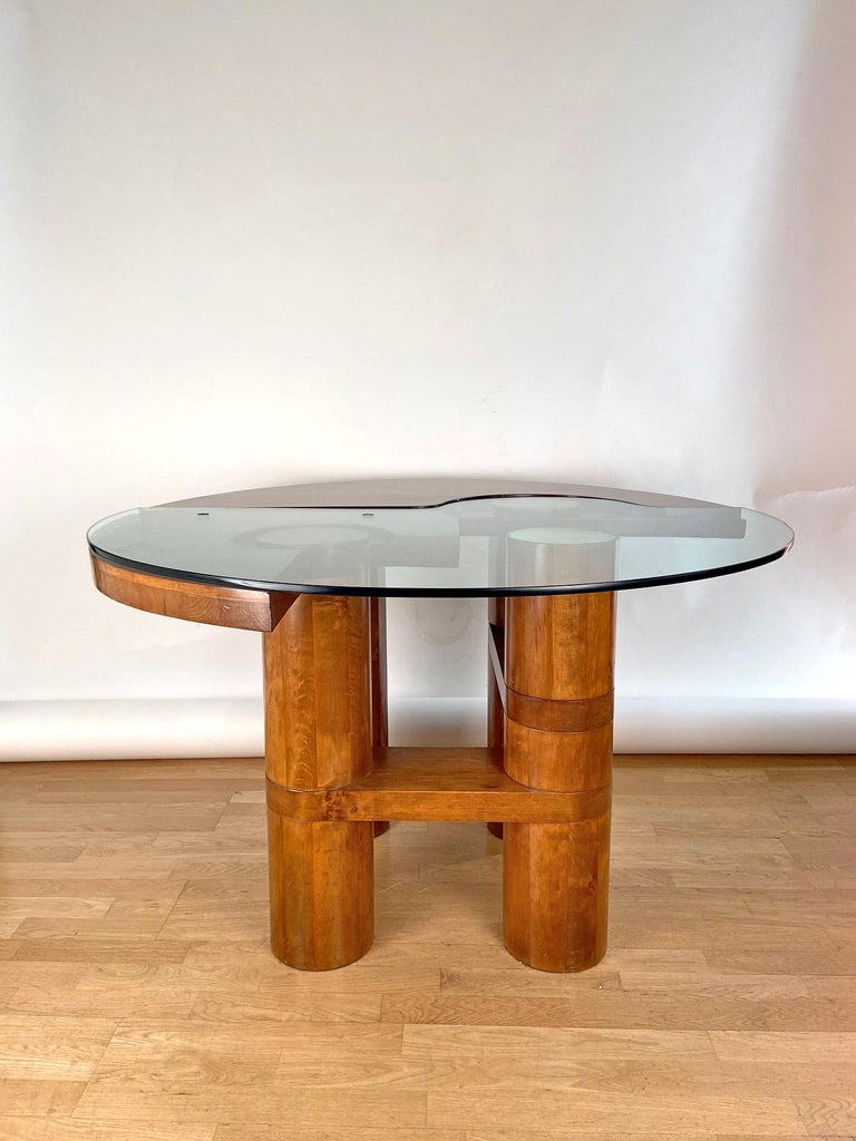 Mid-Century Modern Center Hall-Dining Walnut Table by Nerone & Patuzzi NP Group For Sale 12