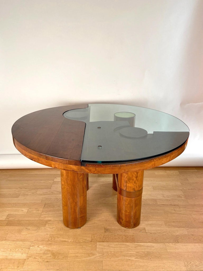 Italian Mid-Century Modern Center Hall-Dining Walnut Table by Nerone & Patuzzi NP Group For Sale