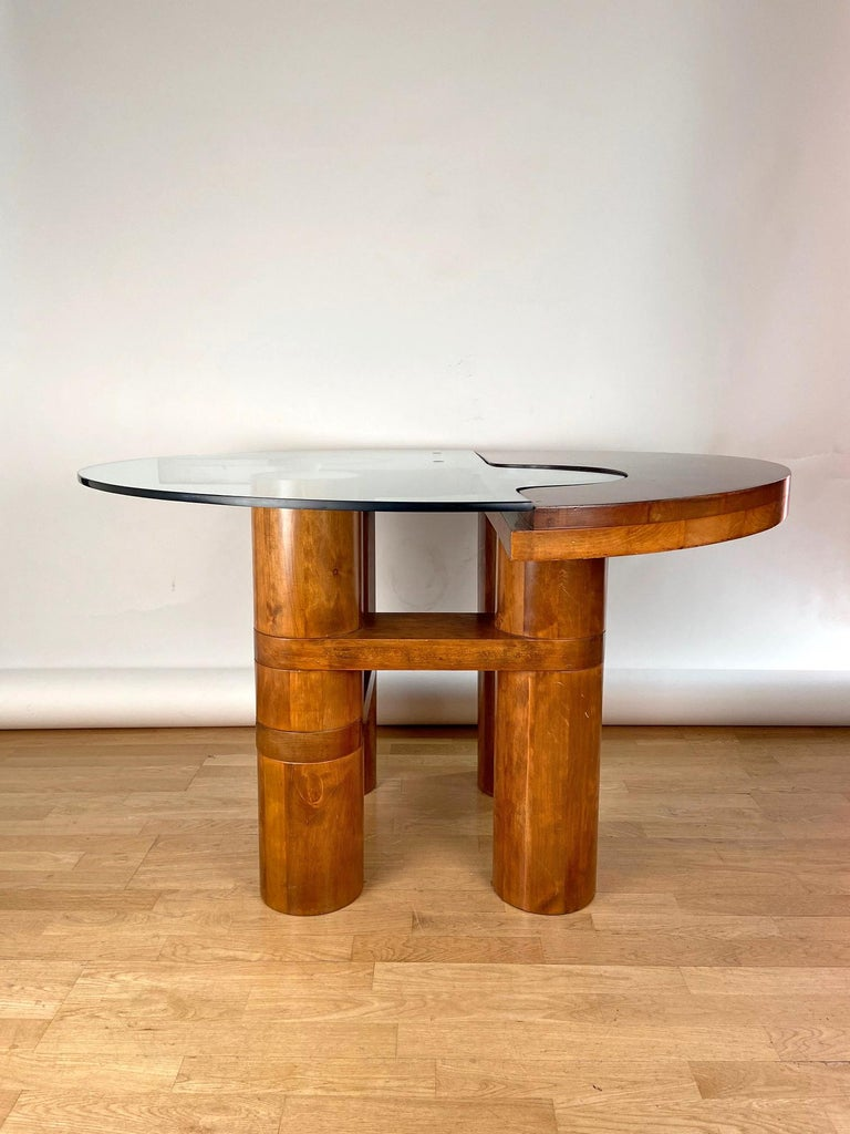 Mid-Century Modern Center Hall-Dining Walnut Table by Nerone & Patuzzi NP Group In Good Condition For Sale In Madrid, ES