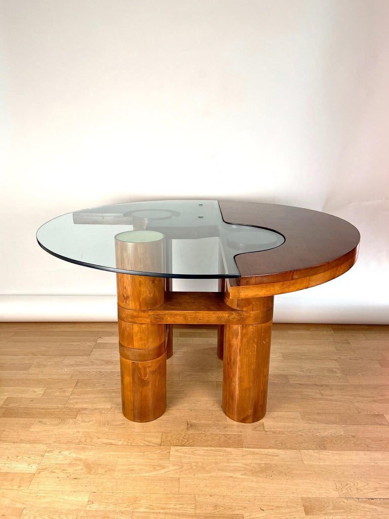 Late 20th Century Mid-Century Modern Center Hall-Dining Walnut Table by Nerone & Patuzzi NP Group For Sale