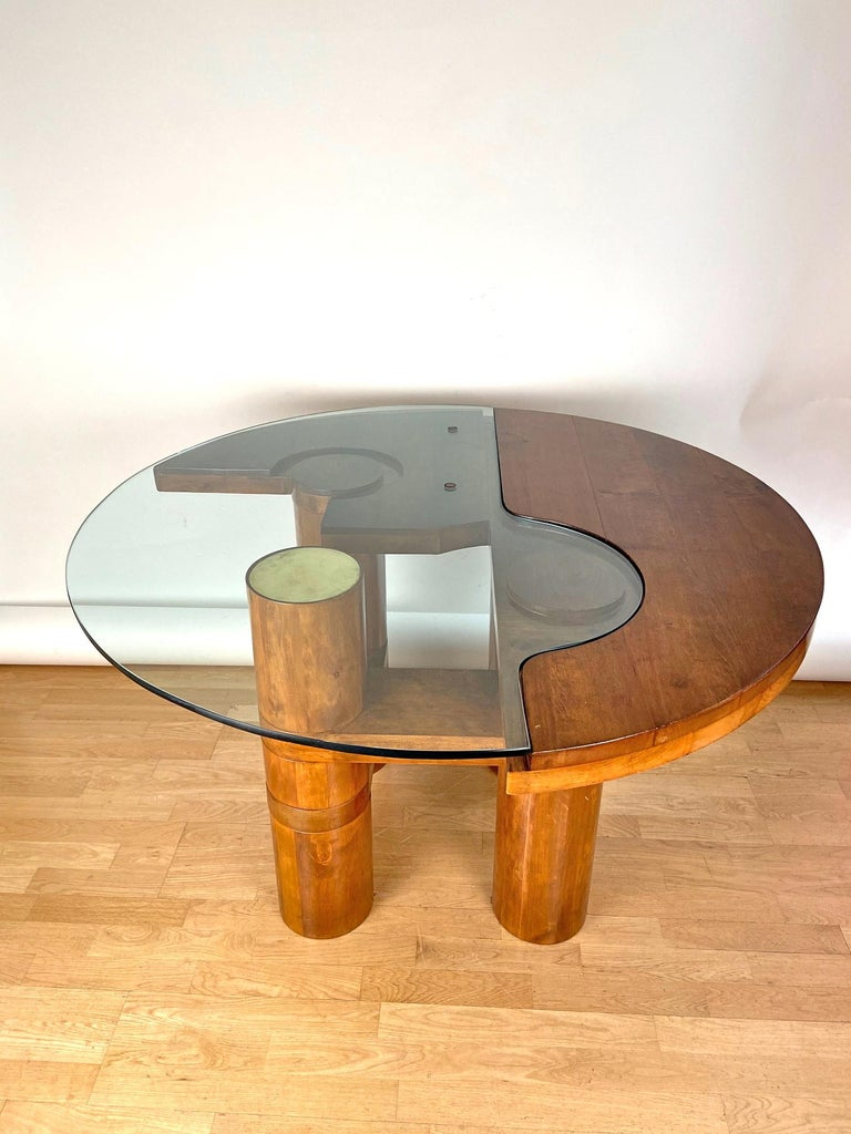 Brass Mid-Century Modern Center Hall-Dining Walnut Table by Nerone & Patuzzi NP Group For Sale