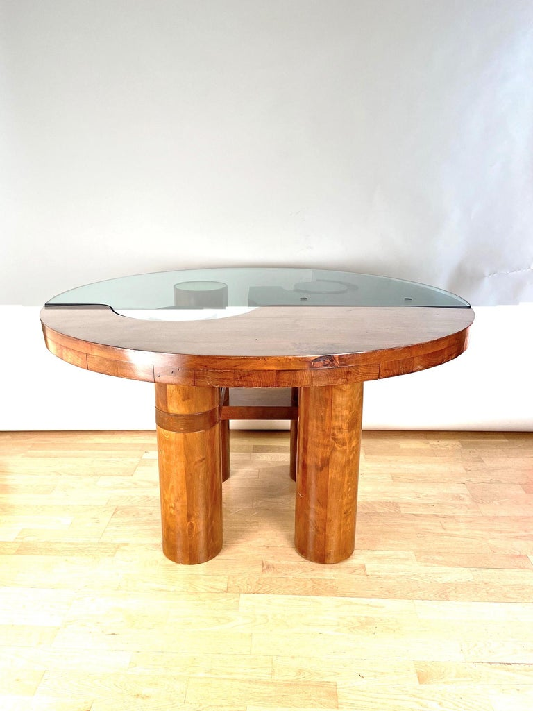 Mid-Century Modern Center Hall-Dining Walnut Table by Nerone & Patuzzi NP Group For Sale 2