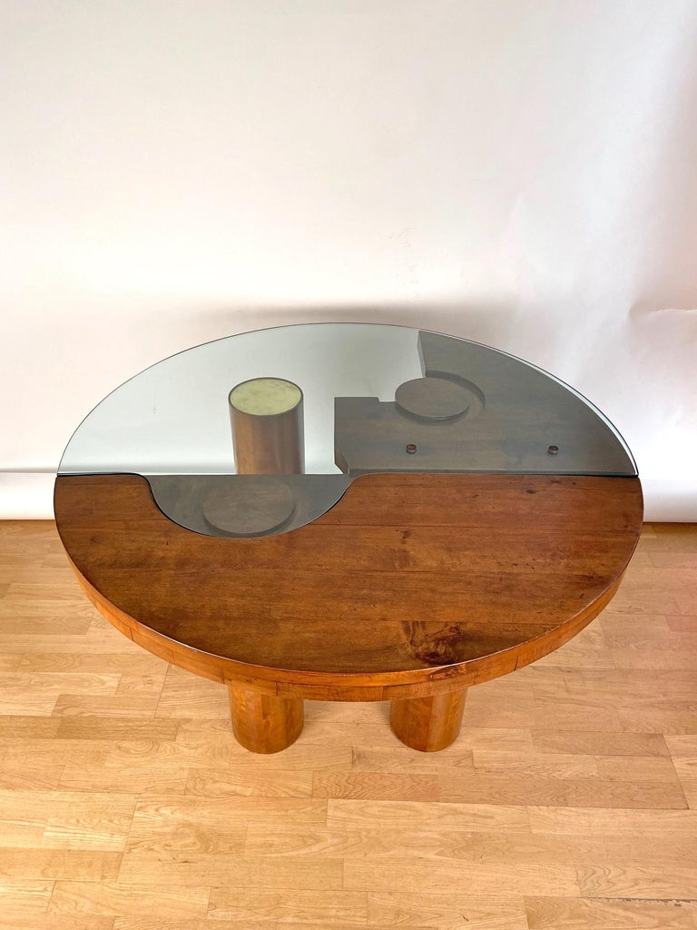 Mid-Century Modern Center Hall-Dining Walnut Table by Nerone & Patuzzi NP Group For Sale 3