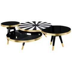 Mid-Century Modern Round Center Table Set Negro Marquina & Carrara Marble