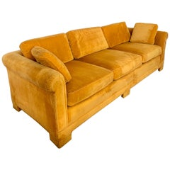 Mid-Century Modern Century Furniture Sofa with Hermès Orange Color Velvet Fabric