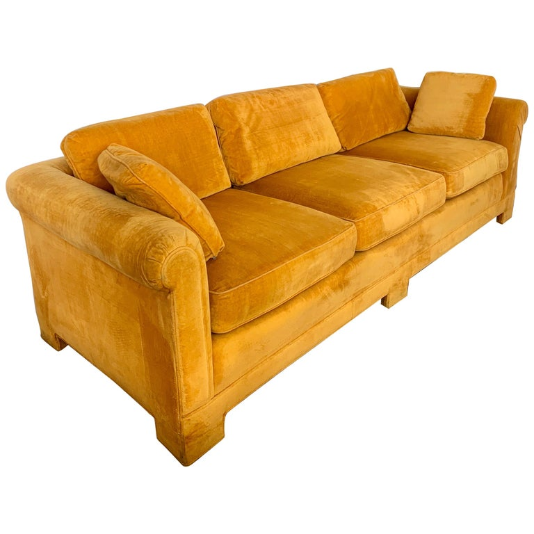 Mid-Century Modern Century Furniture Sofa with Hermès Orange Color Velvet Fabric For Sale