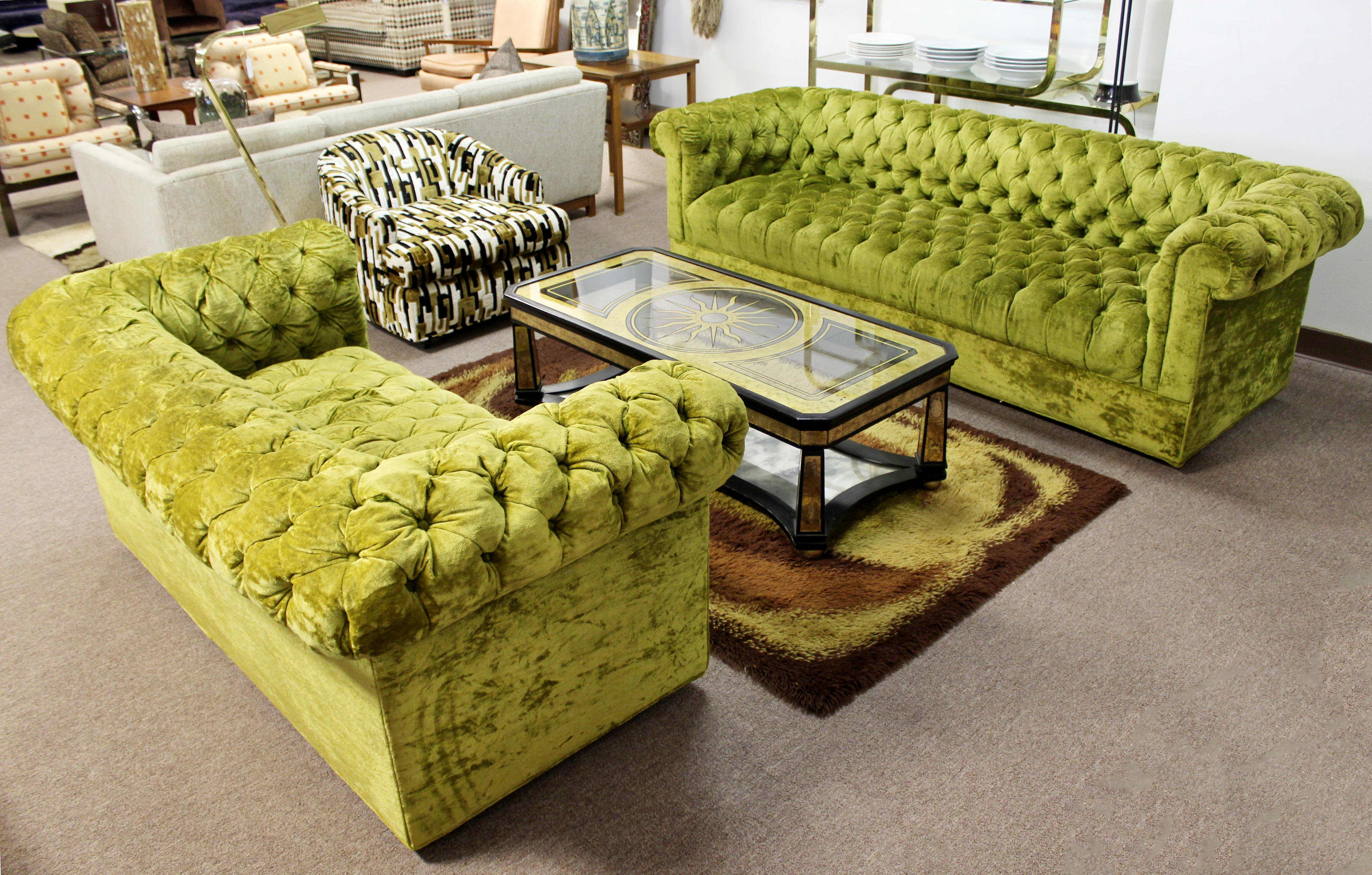 Miraculous Mid Century Modern Century Green Tufted Chesterfield Sofa Pabps2019 Chair Design Images Pabps2019Com
