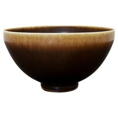 Mid-Century Modern Ceramic Bowl Signed Berndt Friberg Brown Hare Glaze, 1960s