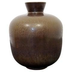 Mid Century Modern Ceramic Bowl Vase Signed Berndt Friberg Gray Hare Glaze 1960s