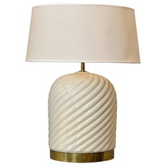 Mid-Century Modern Ceramic and Brass Table Lamp by Tommaso Barbi, Italy