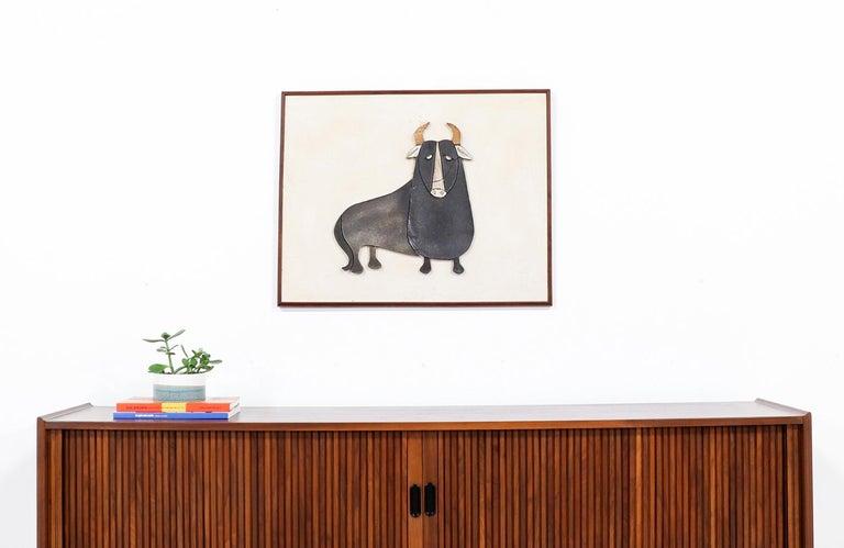 American Mid-Century Modern Ceramic Bull Wall Art For Sale