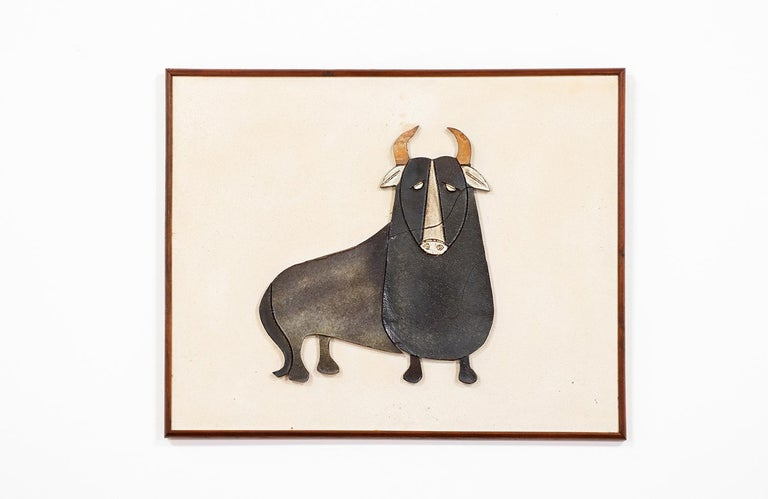 Mid-Century Modern Ceramic Bull Wall Art In Excellent Condition For Sale In Los Angeles, CA