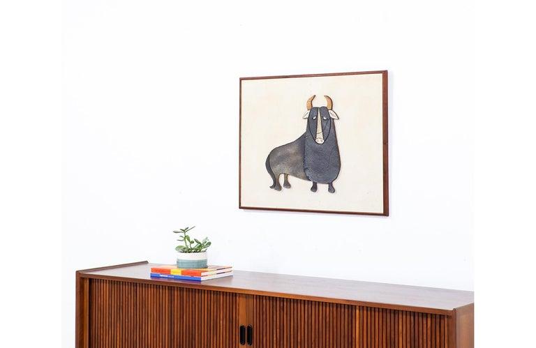 Mid-Century Modern Ceramic Bull Wall Art For Sale 1