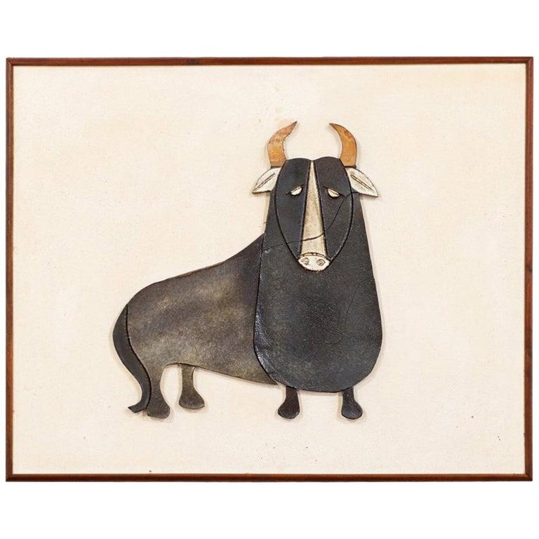 Mid-Century Modern Ceramic Bull Wall Art For Sale