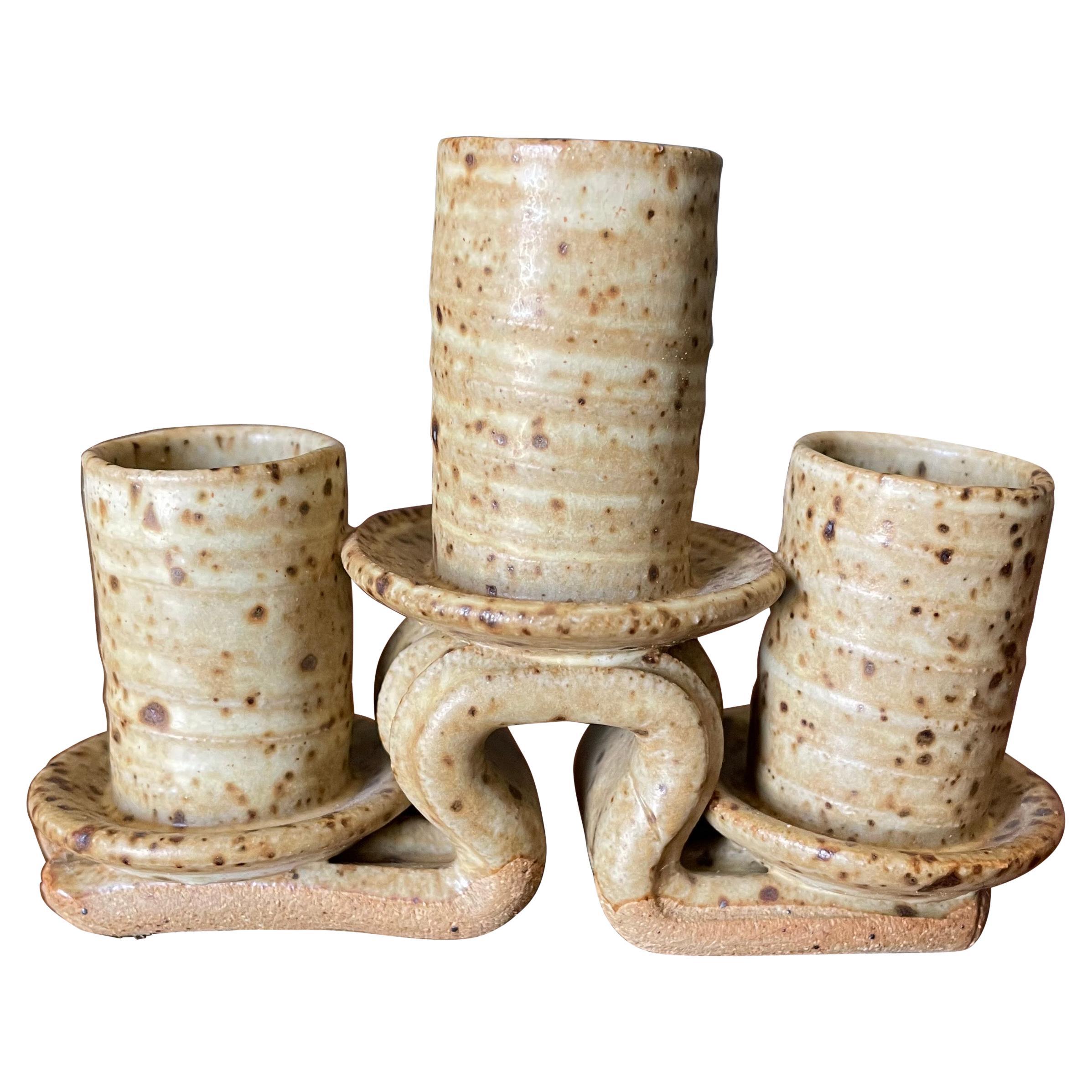 Mid-Century Modern Ceramic Candelabra
