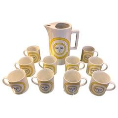 Mid-Century Modern Ceramic Coffee Pot and Mug Set