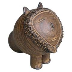 Mid-Century Modern Ceramic Glazed Lion Sculpture Attributed to Lisa Larson