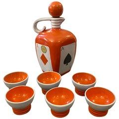 Mid-Century Modern Ceramic Liquor Set by Pucci Umbertide, circa 1950