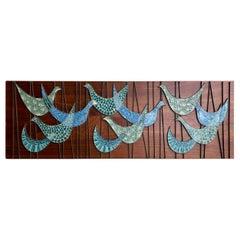 Mid-Century Modern Ceramic Mosaic Bird Tile on Walnut Panel Wall Hanging