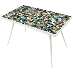 Mid-Century Modern Ceramic Mosaic Tile Top Table with White Painted Iron Legs