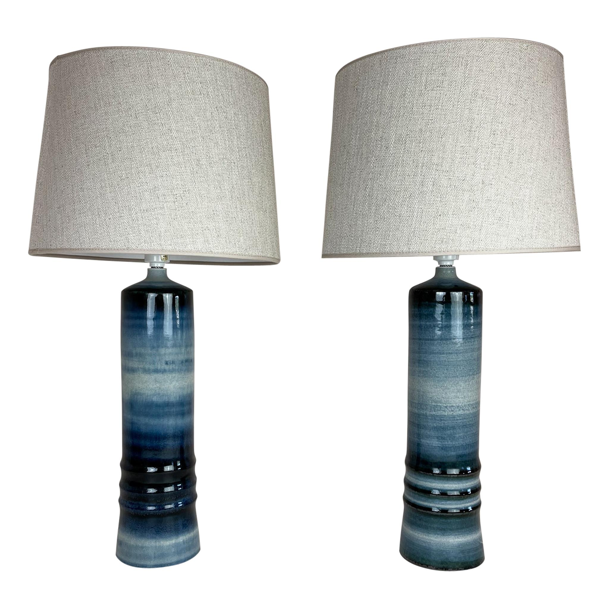 Mid-Century Modern Ceramic Pair of Table Lamps Rörstrand Olle Alberius Sweden