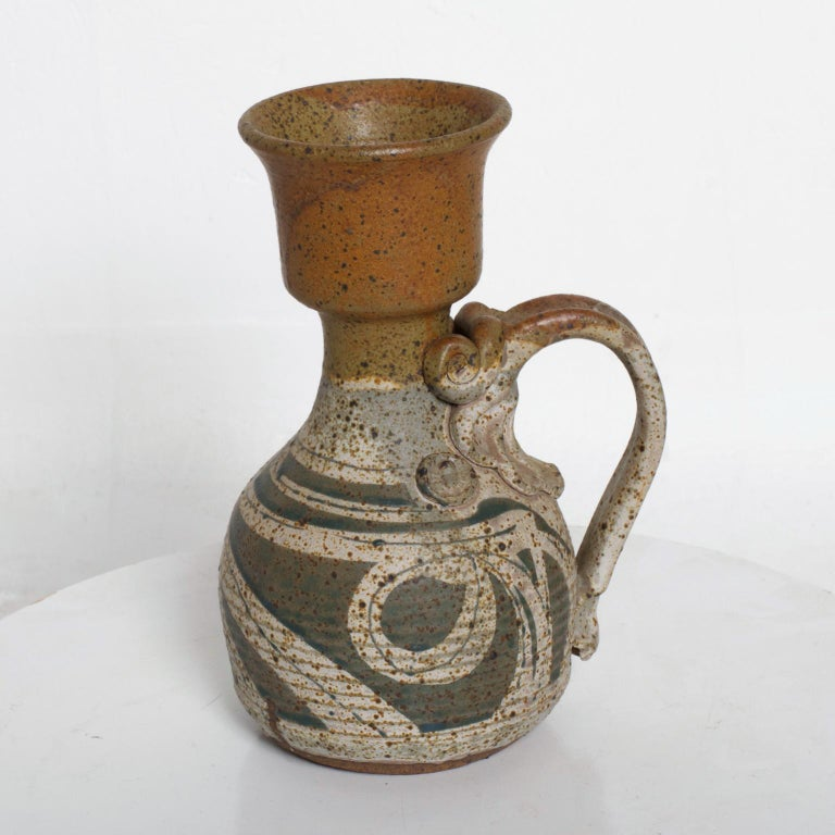 Clay Mid-Century Modern Ceramic Pitcher with Sculptural Shape For Sale
