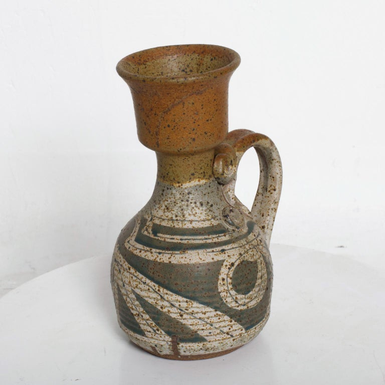 Mid-Century Modern Ceramic Pitcher with Sculptural Shape For Sale 1