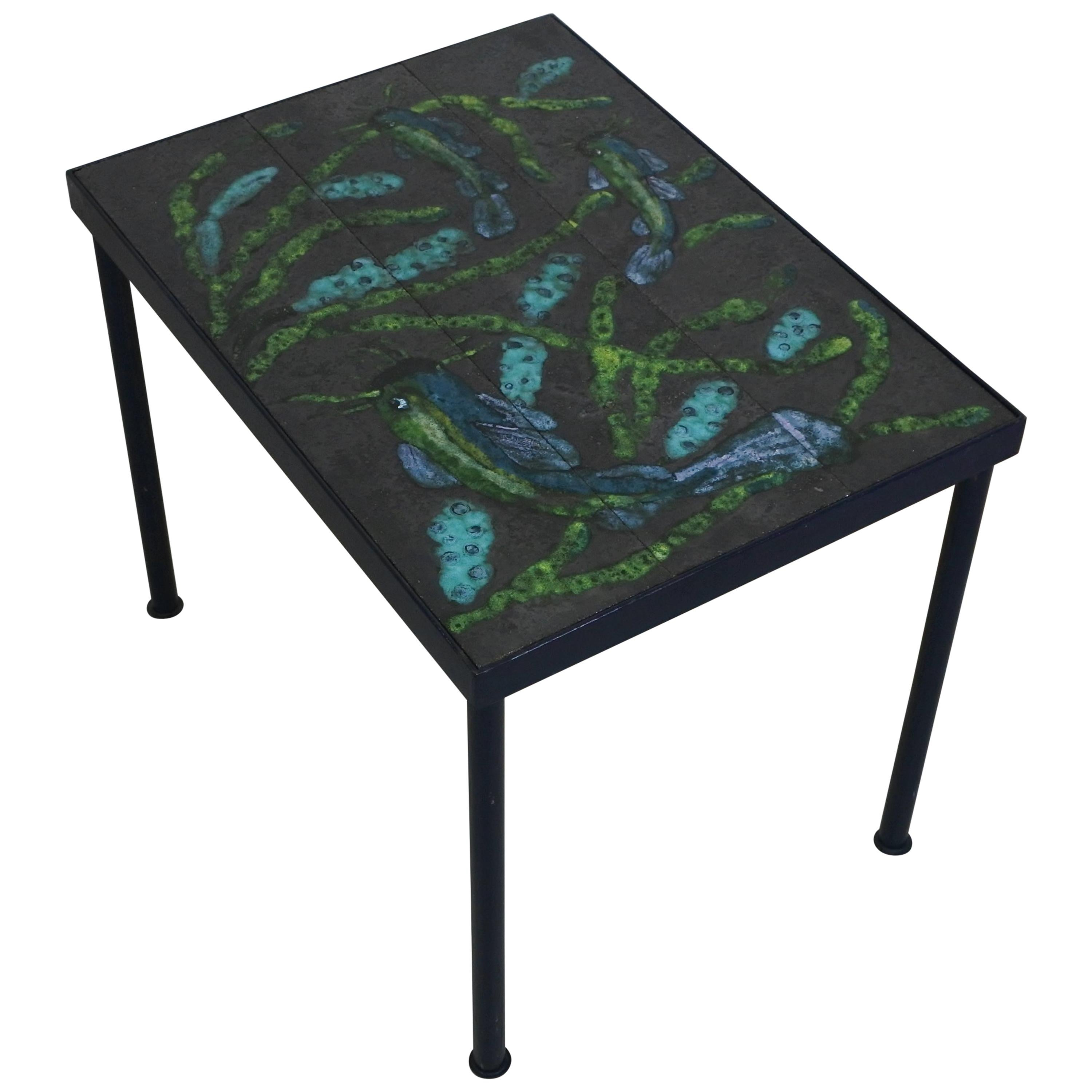 Mid-Century Modern Ceramic Side Table Attr. to Jacques Adnet, France, 1950s