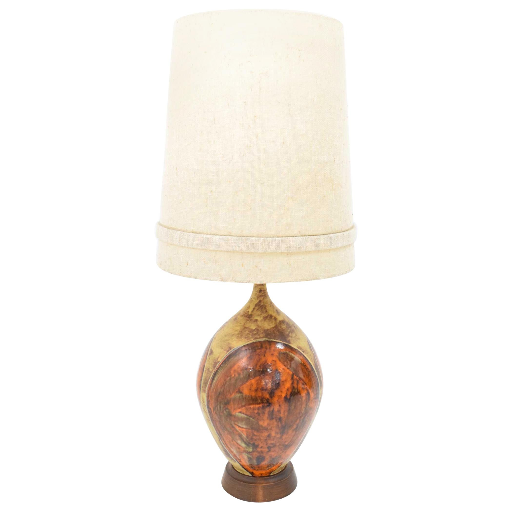 Mid-Century Modern Ceramic Table Lamp in Orange and Brown