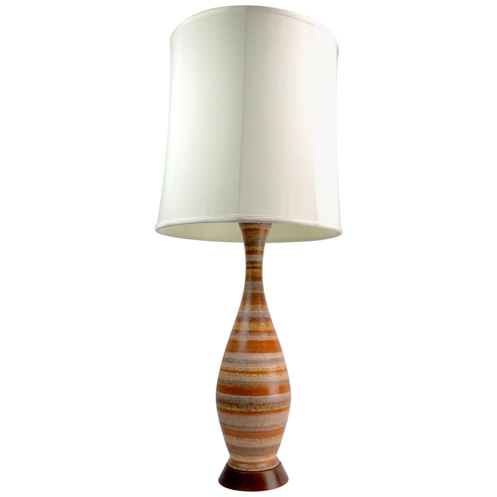 Mid-Century Modern Ceramic Table Lamp with Glazed Stripped Body
