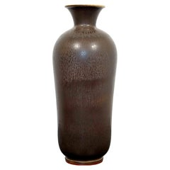 Mid-Century Modern Ceramic Vase Signed Berndt Friberg Gray Hare Glaze, 1960s