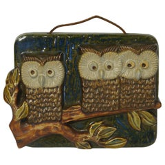 Mid-Century Modern Ceramic Wall Plaque of Owls on a Branch by EGO, Sweden, 1960s