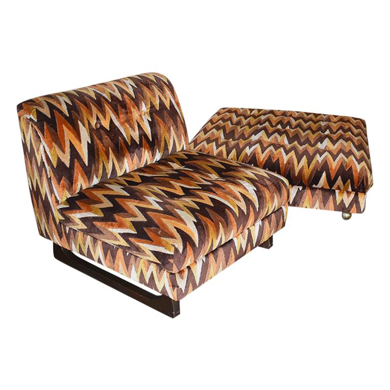 Mid-Century Modern Chair and Ottoman Set in Flame-Stitch Orange Brown Velvet For Sale