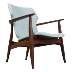 Mid-Century Modern Chair in Teak and Blue Felt by Aksel Bender Madsen, 1960s