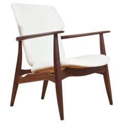 Mid-Century Modern Chair in Teak and White Leather by Aksel Bender Madsen, 1960s