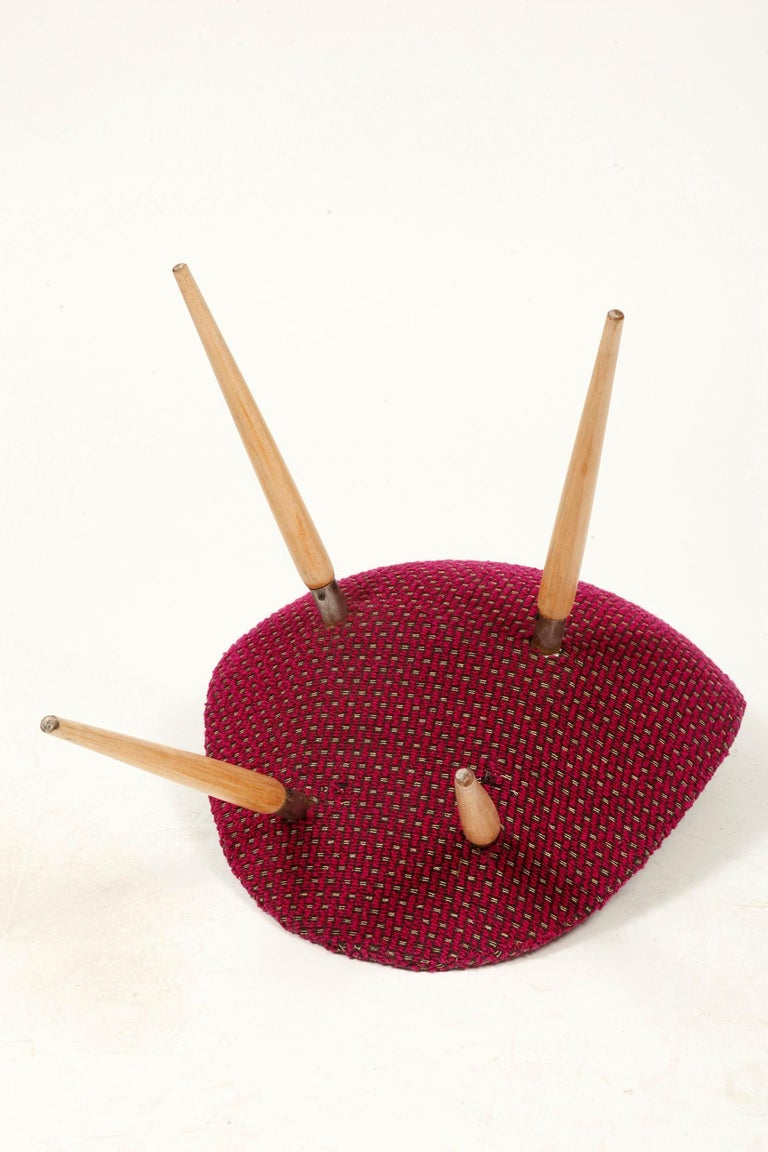 Mid-Century Modern Chair of M. Navratil in Original Violet Upholstery, 1960s For Sale 6