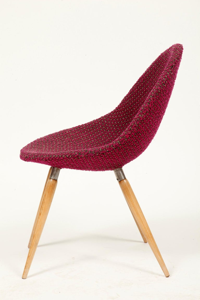 Hand-Crafted Mid-Century Modern Chair of M. Navratil in Original Violet Upholstery, 1960s For Sale