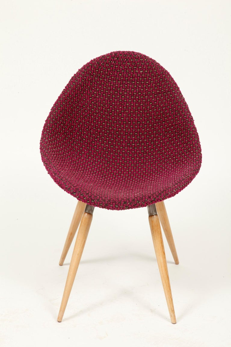 Mid-20th Century Mid-Century Modern Chair of M. Navratil in Original Violet Upholstery, 1960s For Sale