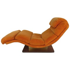 Mid-Century Modern Chaise Longue by Carson's with a Wood and Brass Base