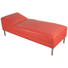 Mid-Century Modern Chaise or Day Bed in Coral Vinyl Faux Leather Aluminum Legs