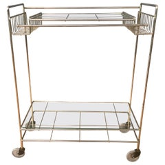 Mid-Century Modern Champagne Finish Metal and Glass Bar Cart, 1960s