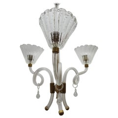 Mid-Century Modern Chandelier by Barovier Toso in Murano Glass, Italy circa 1950