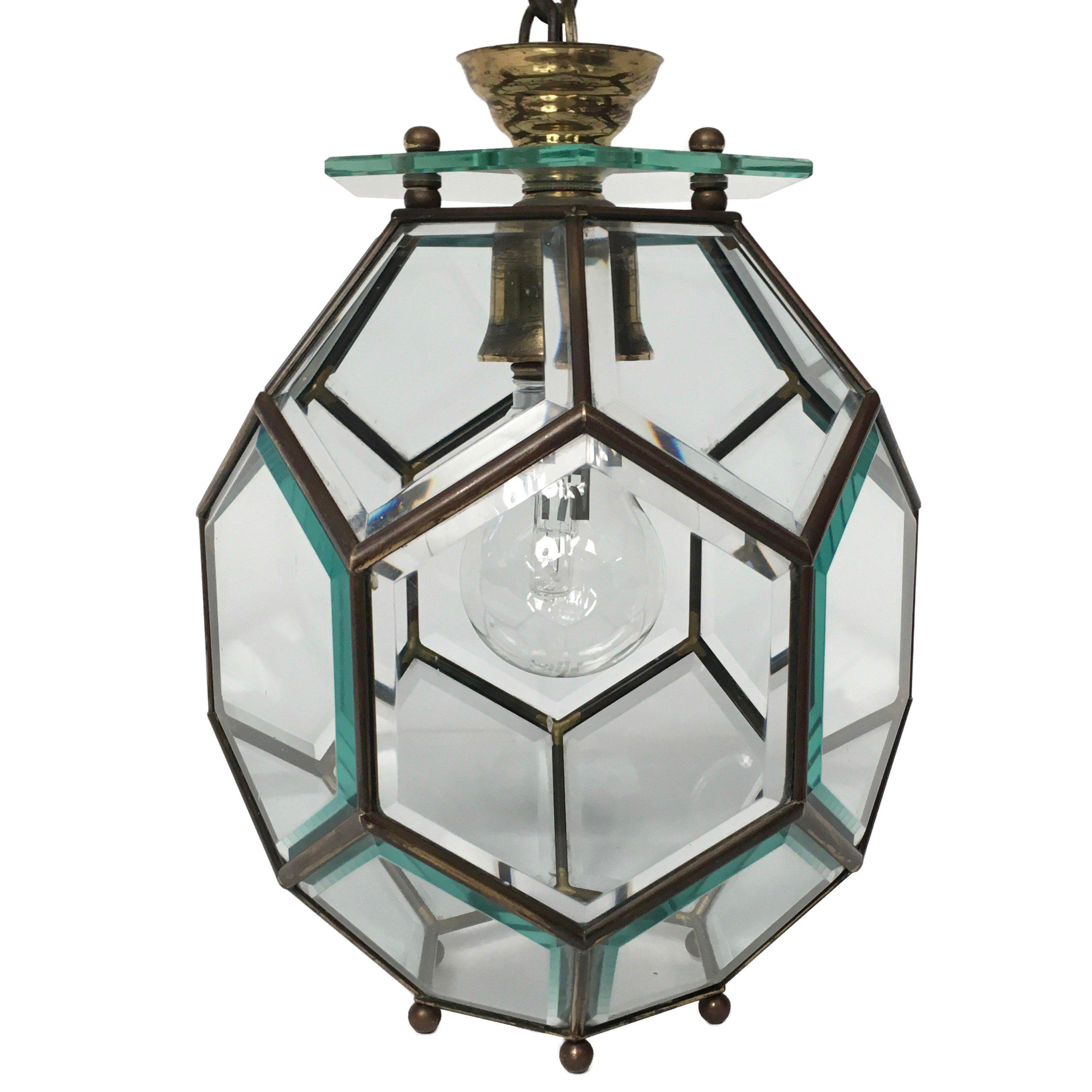 Mid-Century Modern Chandelier in Brass and Glass Attributed to Fontana Arte